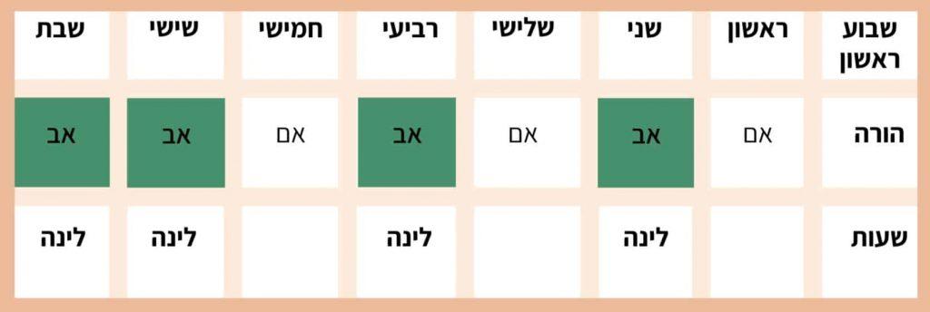 טבלה - הסדר זמני שהות שווים שבוע ראשון