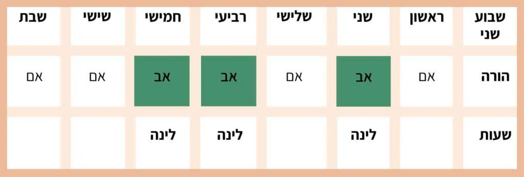 טבלה - הסדר זמני שהות שווים שבוע שני